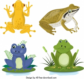 frog wild animals icons sets colored cartoon sketch