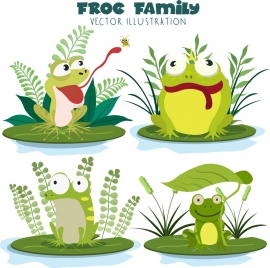 frogs icons collection funny cartoon design