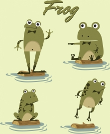 frogs icons collection stylized cartoon design