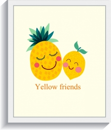 fruit background cute stylized pineapple icons decor