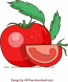 fruit background red tomato icon retro design