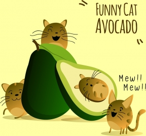 fruit banner cute cats green avocado icons decoration
