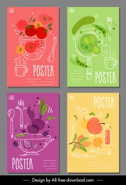 fruit beverage posters colorful handdrawn decor