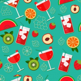 fruit cocktails pattern glass slices icons colorful flat