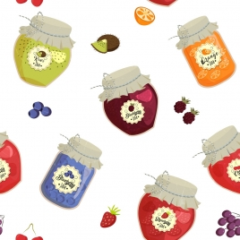 fruit jam pots background multicolored glass jar icons