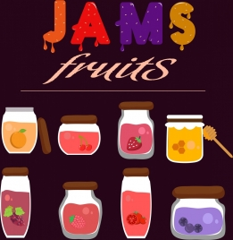 fruit jams advertising glass jar icons isolation