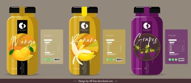 fruit juice bottle templates dark colored flat decor
