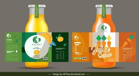 fruit juice label template orange tomato sketch colorful flat