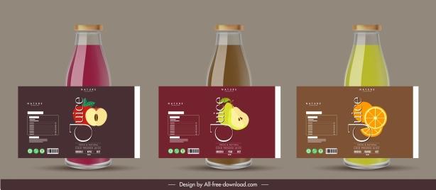 fruit juice labels templates elegant flat decor
