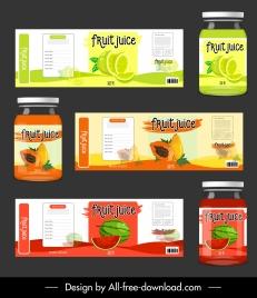 fruit juice labels templates lemon papaya watermelon sketch