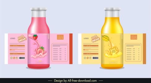 fruit juice labels templates shiny elegant dynamic decor