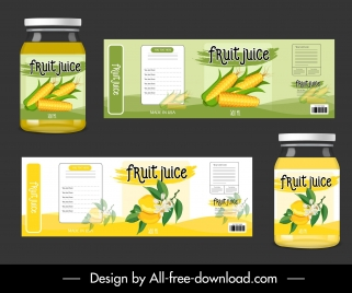 fruit juice package templates bright colored classic decor