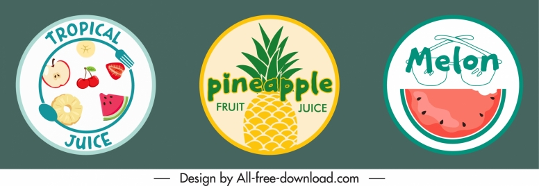 fruit juice sticker templates bright flat classical sketch
