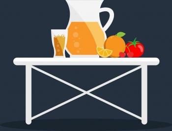 fruit juice theme flat colored design