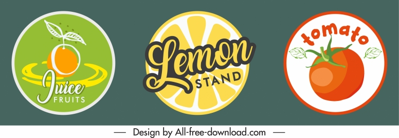 fruit label templates colored bright flat sketch
