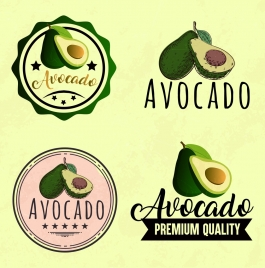 fruit logotypes collection avocado icons various shapes isolation