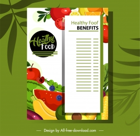 fruit menu template bright colorful flat sketch