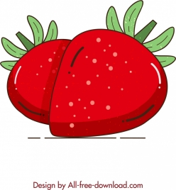 fruit painting red strawberry icon classical design