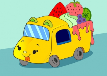 fruit truck icon cute stylized cartoon design