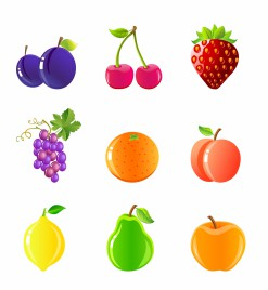 Fruits and berries icon set