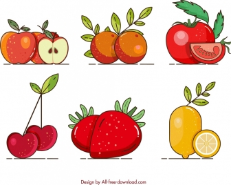 fruits background apple orange tomato cherry strawberry lemon