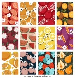 fruits background templates colored retro closeup design