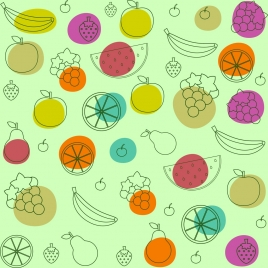 fruits background various colored types sketch