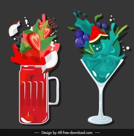 fruits cocktails icons colorful dynamic design