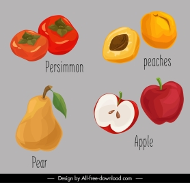 fruits icons colored retro handdrawn sketch