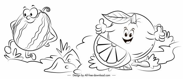 fruits icons cute stylized sketch handdrawn cartoon
