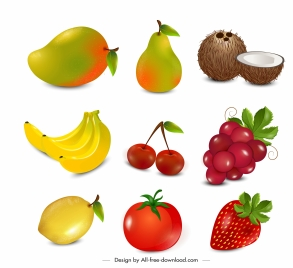 fruits icons shiny colorful modern sketch