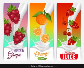 fruits juice milk advertising grape orange strawberry sketch