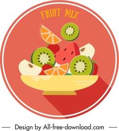 fruits label template colorful classic flat design