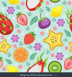 fruits pattern colorful flat classic decor