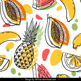 fruits pattern template colorful classical handdrawn sketch