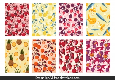 fruits pattern templates colorful flat luxuriant decor