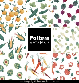 fruits vegatables pattern templates colored repeating flat decor