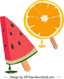 fruity ice cream icons watermelon orange sketch