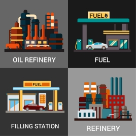 fuel supplies concepts isolated with various colored types