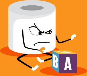 funny background stylized toilet paper icon 3d design