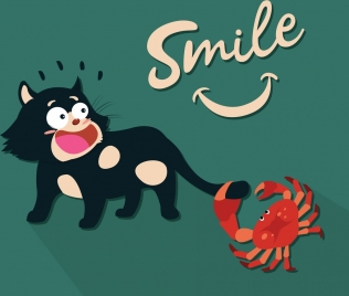 funny drawing smile concept cat crab icons
