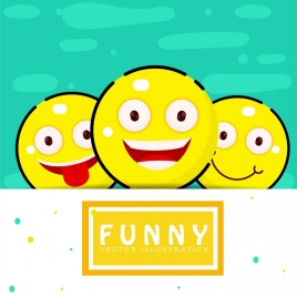 funny emotional icons yellow circle design
