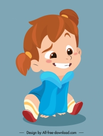 funny girl icon cute cartoon character sketch