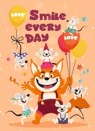 funny lifestyle banner cat mice icons colored cartoon