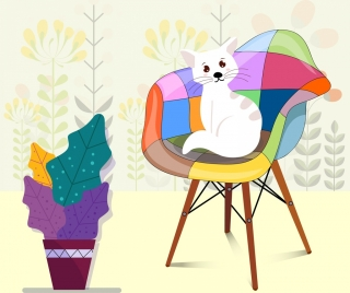 furniture background cat armchair icon colored cartoon