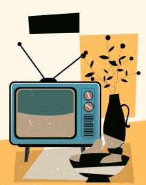 furniture background television flowerpot icons colored retro design