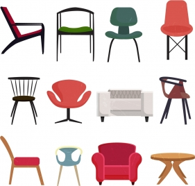 furniture chairs icons collection various colored types