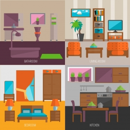 furniture decoration vector illustration with various rooms