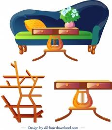 furniture design elements sofa table bookshelf icons