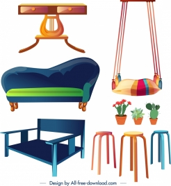 furniture design elements table sofa swing chairs flowerpots